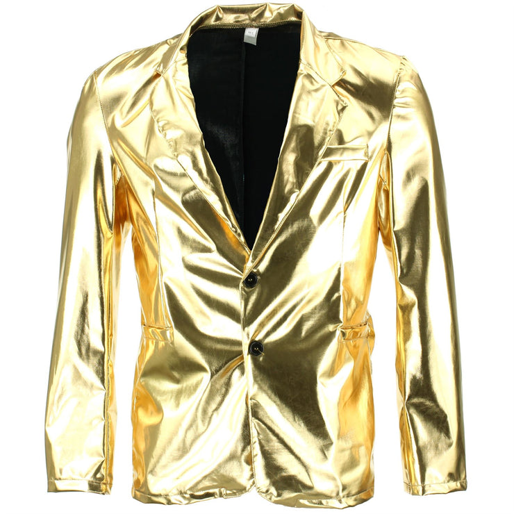 Shiny Metallic Blazer - Gold