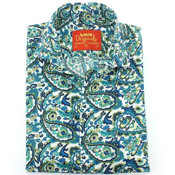 Tailored Fit Short Sleeve Shirt - Porcelain Paisley