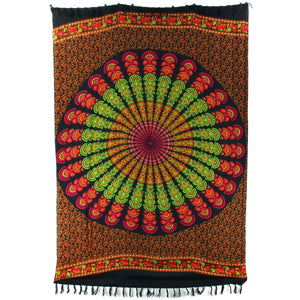 Viscose Rayon Sarong - Mandala - Red & Green
