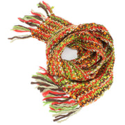 Long Chunky Knit Acrylic Scarf - Green, Red & Beige