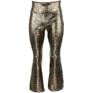 Shiny Metallic Flares Trousers - Snake