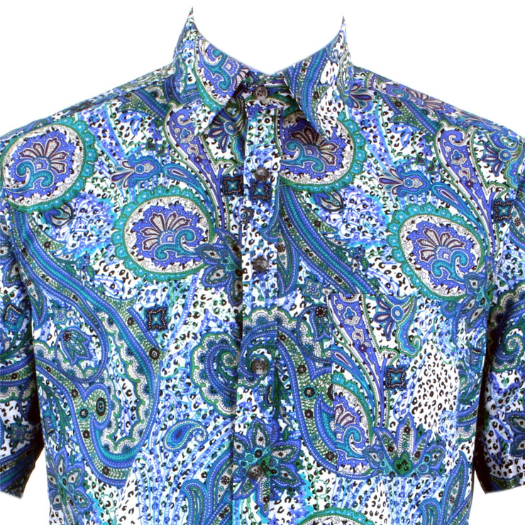 Regular Fit Short Sleeve Shirt - Blue & Green Abstract Paisley