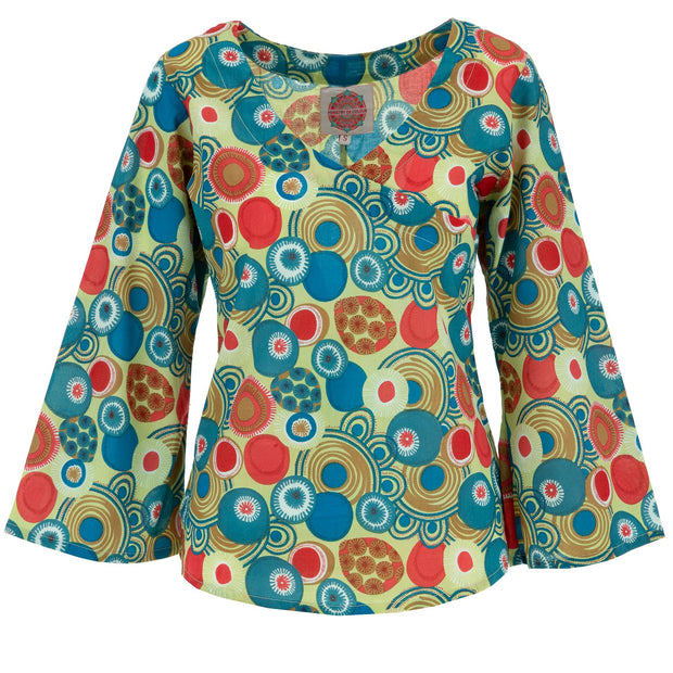Wrap Top with Bell Sleeve - Magic Garden
