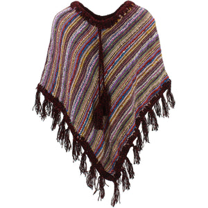 Stripe Crochet Poncho Short - Purple