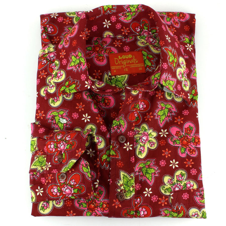 Tailored Fit Long Sleeve Shirt - Pink & Red Floral