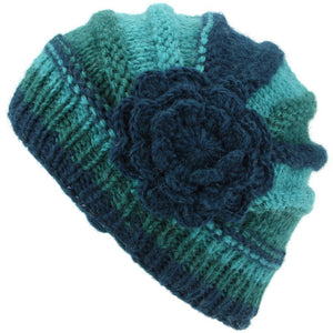 Ladies Chunky Wool Knit Shell Shaped Beanie Hat with Side Flower - Teal