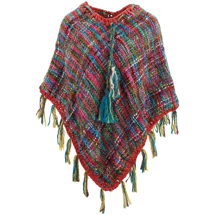 Stripe Crochet Poncho Long - Pink/Rainbow