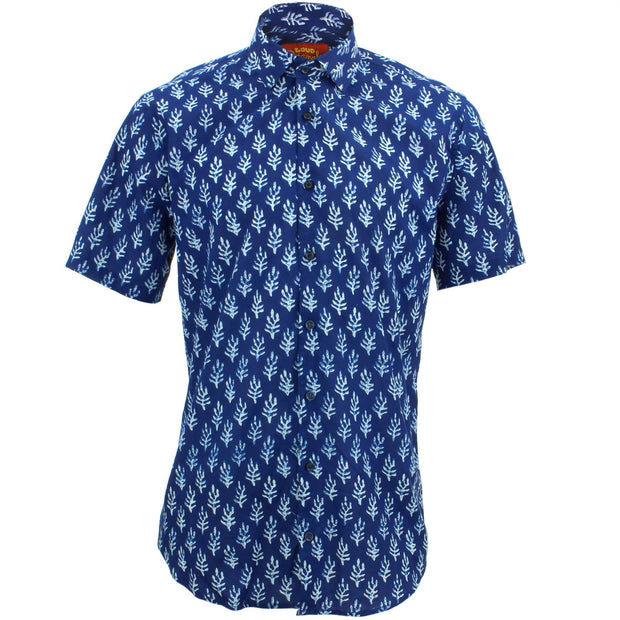 Tailored Fit Short Sleeve Shirt - Block Print - Seaweed