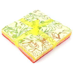 Cotton Batik Charm Pack Pre Cut Fabric Bundle - Yellows to Reds