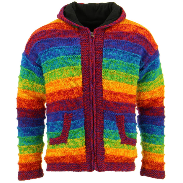 Space Dye Chunky Wool Knit Ribbed Hooded Cardigan Jacket - Rainbow