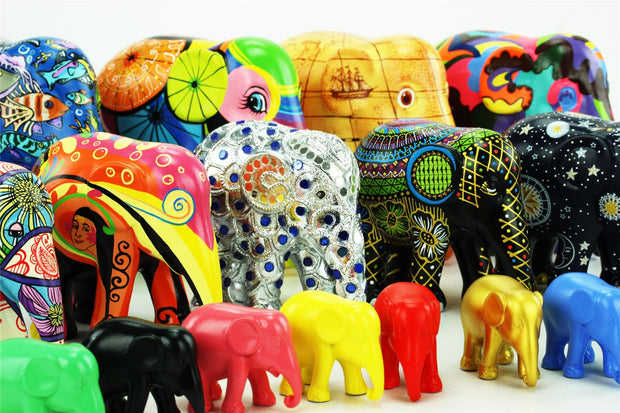 Limited Edition Replica Elephant - Henna and Head Scarves (10cm)