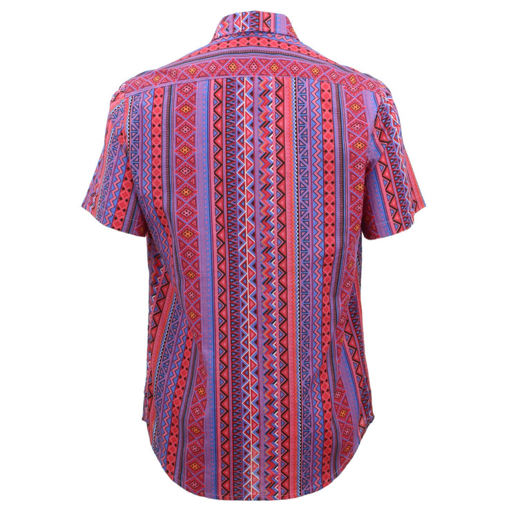 Tailored Fit Short Sleeve Shirt - Purple & Red Aztec