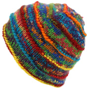 Chunky Ribbed Wool Knit Beanie Hat with Space Dye Design - Rainbow