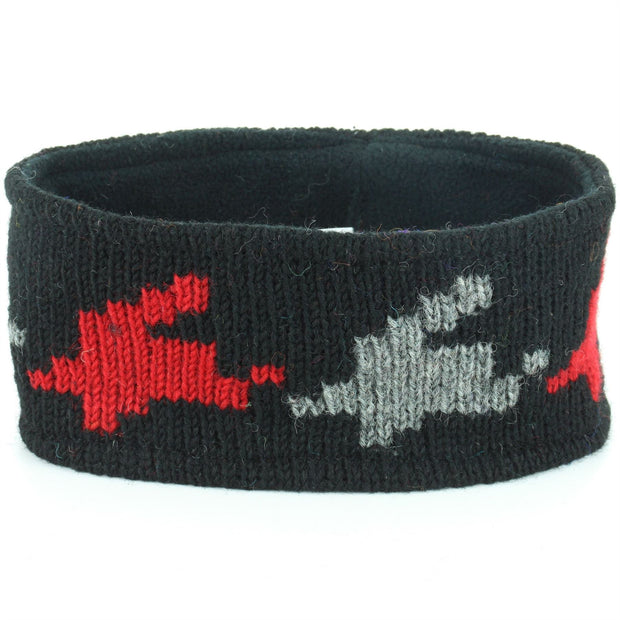 Wool Kint Headband - Red Houndstooth
