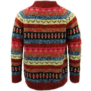 Chunky Wool Knit Abstract Pattern Jumper - Red