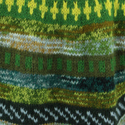 Chunky Wool Knit Abstract Pattern Jumper - Green