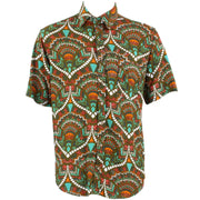 Regular Fit Short Sleeve Shirt - Green Turquoise & Orange Abstract