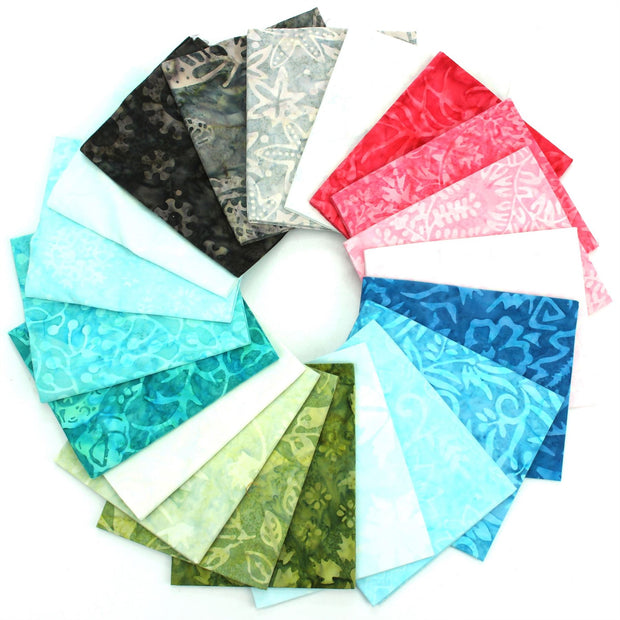 Cotton Batik Pre Cut Fabric Bundles - Fat Quarter - Multi