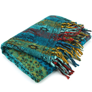 Vegan Wool Shawl Blanket - Paisley Stripe - Turquoise & Yellow