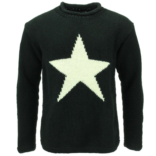 Chunky Wool Knit Star Jumper - Black & Cream