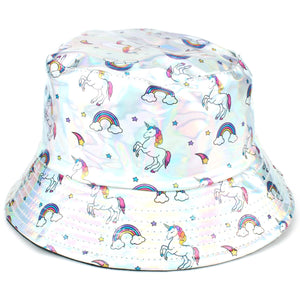 Shiny Metallic Bucket Hat - Unicorn Silver