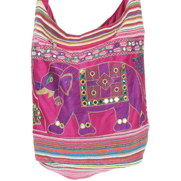 Embroidered Elephant Canvas Sling Shoulder Bag - Pink