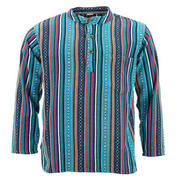 Woven Cotton Grandad Shirt - Purple Sky