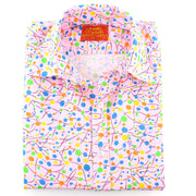 Tailored Fit Short Sleeve Shirt - Pink & Multi Dots