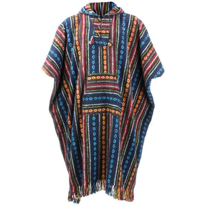 Brushed Cotton Long Hooded Poncho - Blue Red