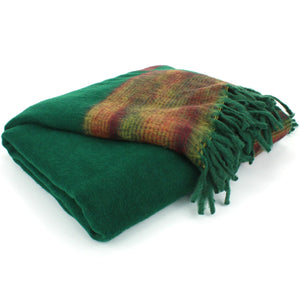 Tibetan Wool Blend Shawl Blanket - Green with Sunset Reverse