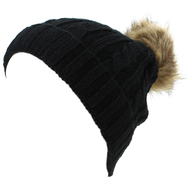 Childrens Cable Knit Beanie Hat with Faux Fur Bobble and Turn-up - Black