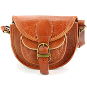 Real Leather Small Handbag - Light Brown