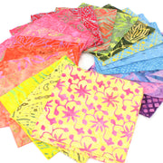 Cotton Batik Charm Pack Pre Cut Fabric Bundle - Yellows to Purples