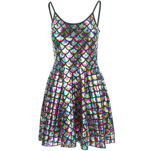 Shiny Mermaid Scale Strappy Dress - Rainbow