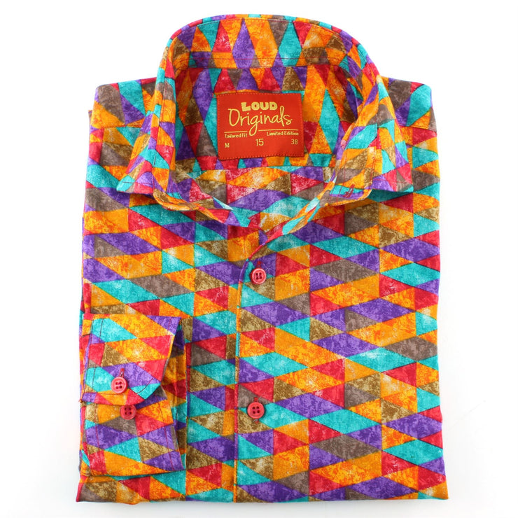Tailored Fit Long Sleeve Shirt - Purple Orange Harlequin