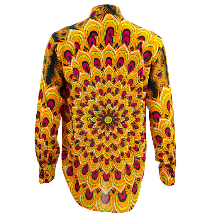 Regular Fit Long Sleeve Shirt - Peacock Mandala - Orange Red