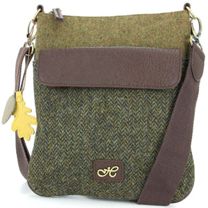 Tweed Cross Body Messenger Shoulder Bag Handbag - Green & Brown