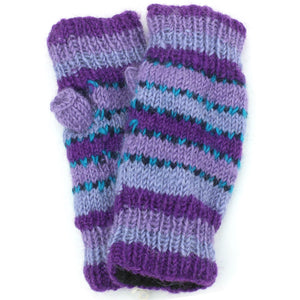Wool Knit Arm Warmer - Stripe - Purple