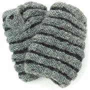 Wool Knit Arm Warmer - Ruched - Grey