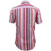 Tailored Fit Short Sleeve Shirt - Pink Aztec