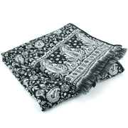Acrylic Wool Shawl Blanket - Black Paisley - Floral