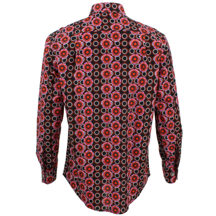 Regular Fit Long Sleeve Shirt - Black Abstract Poppies