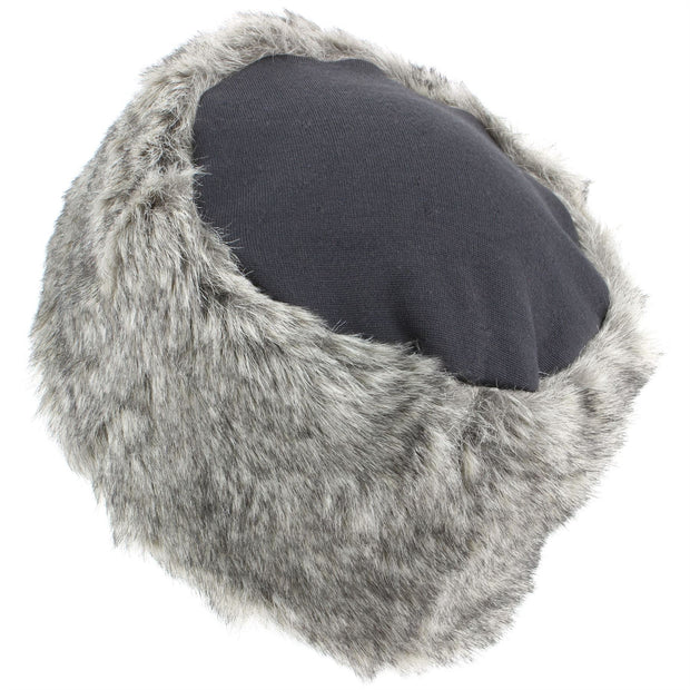 Ladies Faux Fur Hat with Jersey Crown - Grey
