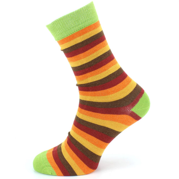 Bamboo Socks - Stripe - Orange Brown