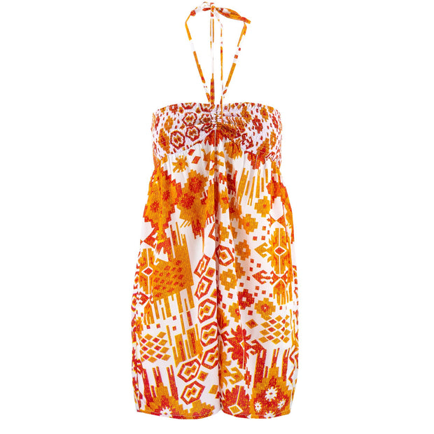 Halterneck Wrinkle Dress - Orange Aztec