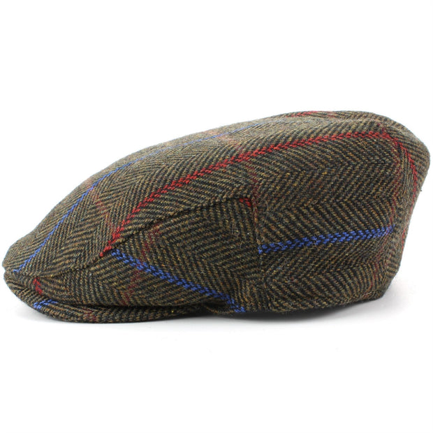 Tweed Flat Cap with Quilted Lining - Brown