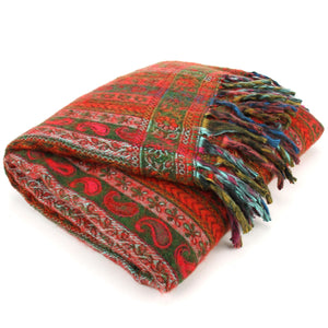 Acrylic Wool Shawl Blanket - Stripe - Green & Red