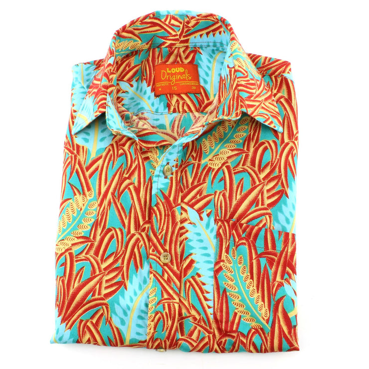 Tailored Fit Short Sleeve Shirt - Blue Feathers & Red Grass
