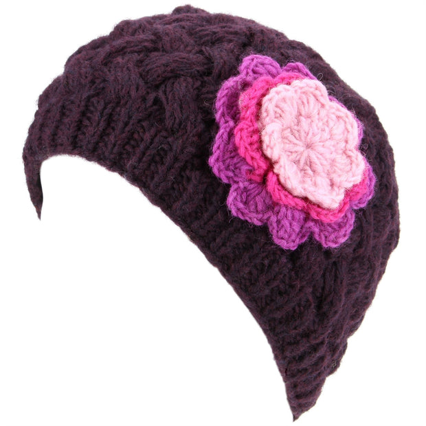 Ladies Wool Cable Knit Beanie Hat with Contrast Flower - Purple