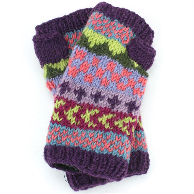 Chunky Wool Knit Arm Warmers - Chevron - Purple